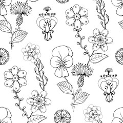 Monochrome seamless pattern with flowers, hand drawn floral texture