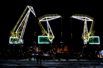 Highlighted cranes in Szczecin, a city monument. Highlighted cranes in Szczecin, a city monument.