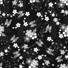 Seamless texture. Multicolor pattern of butterflies, flowers and leaves. Embroidery colorful simplified. monochrome black and white