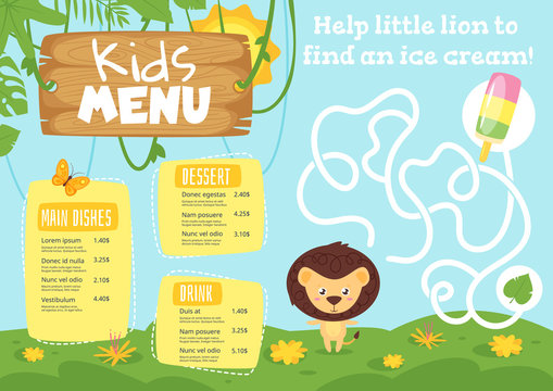 Kids food menu design template