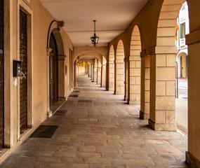 View under the arcades of Padua, Veneto-Italy