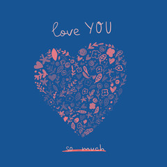 Love you greeting card with cute cartoon heart. Valentine Day Love poster concept.