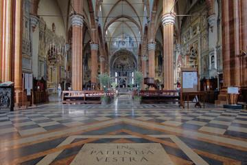 Verona, Italy, September 14, 2018 - Interior of the Cathedral of Verona