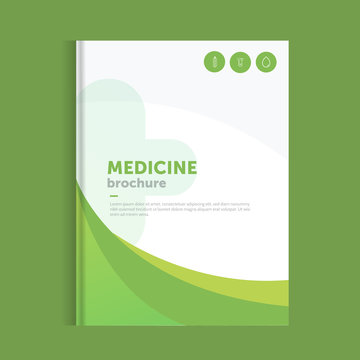Blue medicine brochure for advertising with outline icons. Health layout concept