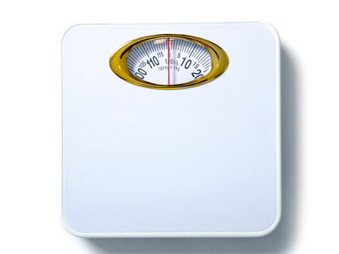 White weighing scale on a white background isolation, top view