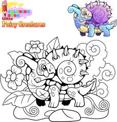 cartoon cute little snail dragon, coloring book, funny illustration