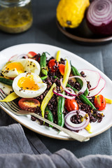 Thai Riceberry with Soft Boiled Egg,Green beans,Cherry Tomato and Radish Salad with Wholegrain dressing