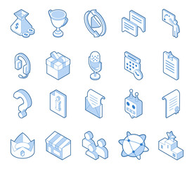 Set of video games icon set. Online streaming attributes: donations, headphones, chat, replay, rules. Outline symbols for live streamers. Eps10 vector