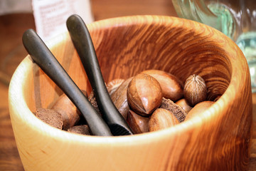 Wooden bowl of nuts