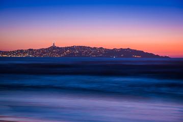 Atardecer en costa de Chile
