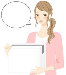 不安な表情の女性 緊張する新生活 コピースペース枠