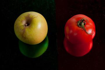 manzana y tomate, rojo y verde, comida