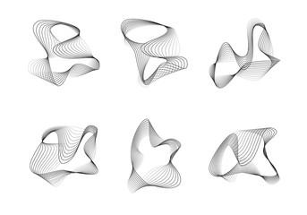 set of abstract lines vector strange shapes full editable stroke