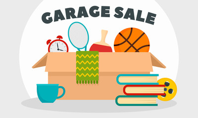 Garage sale concept banner. Flat illustration of garage sale vector concept banner for web design