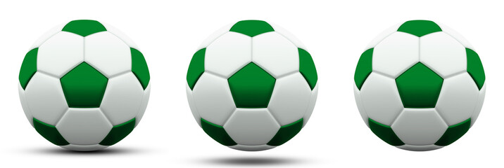 green and white soccer ball in three versions, with and without shadow. Isolated on white. 3d render.