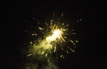 Image of colorful fireworks on the black sky