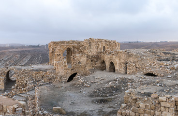 The remains of the medieval fortress Ash Shubak, standing on a hill near Al Jaya city in Jordan