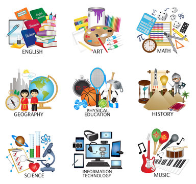 Education subject icon set - English, Art, Math, Geography, Physical Education, History, Science, Information Technology and Music