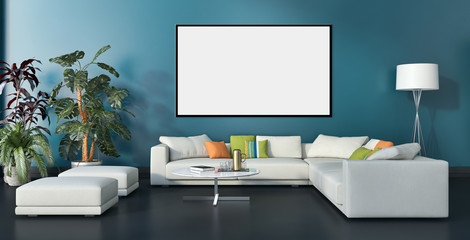 Modern bright interiors with mock up poster frame illustration 3D rendering computer generated image
