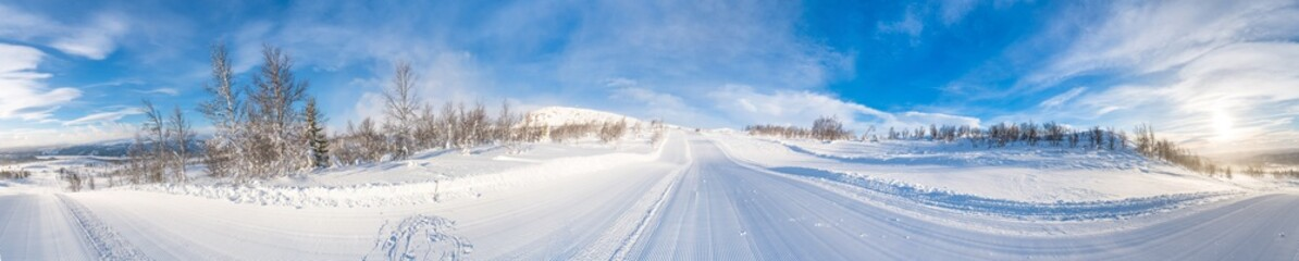 Wall Murals White 360 degree panoramic view of winter landscape in Beitostolen. Winter in Norway
