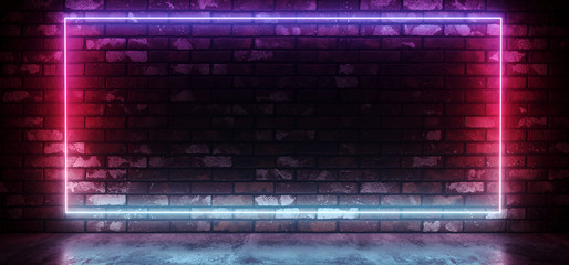 Club Neon Sci Fi Retro Futuristic Glowing Rectangle Frame Shaped Gradient Glowing Pink Purple Blue Light On Grunge Brick Wall Concrete Reflective Floor Dark Room 3D Rendering