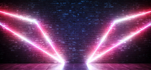 Sci Fi Neon Wing Abstract Shaped Glowing Pink Purple  Triangle Lights On Grunge Brick Wall And Reflective Concrete Floor Background Club Laser 3D Rendering