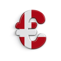 Denmark euro currency sign  - 3dBusiness Danish flag symbol - Suitable for Denmark, nordic culture or Caribbean related subjects