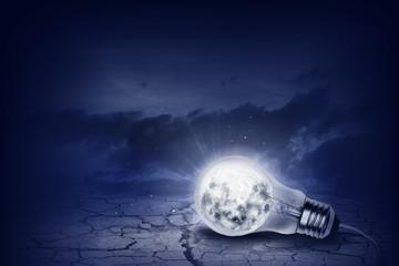 Light bulb with moon