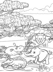 A safari cartoon cute animal background African savannah landscape coloring outline scene.
