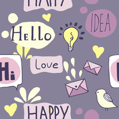 Seamless pattern with icons and speech bubbles
