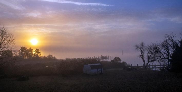 Early morning fog over Breton Bay, Leonardtown, Maryland, December 2018.