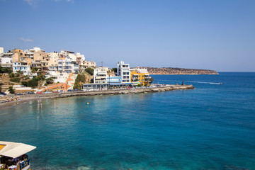 Agios Nikolaos is a popular tourist town in Crete. Beach, hotels and tourist attractions in the city. Beautiful Greek coast.