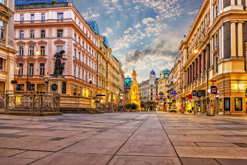 Poster Wenen Graben, a famous Vienna street with the Plague Column and famous