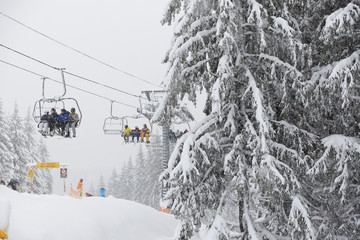 The skier is on slope in Bukovel ski resort, Ukraine