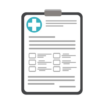 The concept of medication, prescription of medicines. Filling the health insurance, medical card, prescription, medical certificate, clinical record, medical check marks report. Vector illustration.