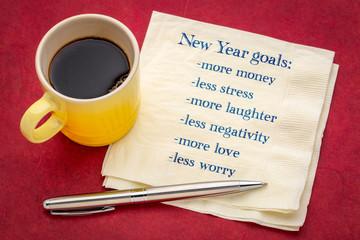 New Year goals on napkin