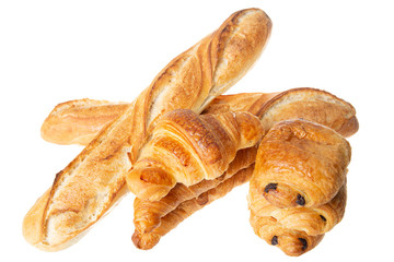 chocolate bread baguette croissant pastry french bakery in white background Fototapete