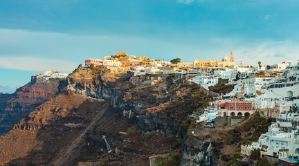 Fira village in Santorini, Greece during the day