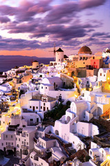 Sunset over the traditional Greek Village of Oia, Santorini