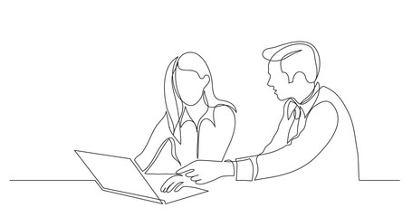 manager helping employee pointing at laptop computer - one line drawing