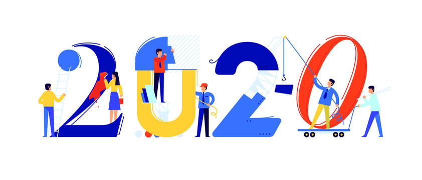 Office staff are preparing to meet the new year 2020. Vector illustration. Cartoon characters repair the numbers. Image is isolated on white background. Flat illustration for banner and site.