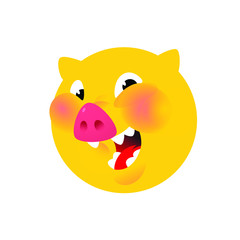 The head of a pig, yellow. Vector. Logo, symbol for the company. Emblem for fast food and food. Round head boar. Meat animal. Bacon.