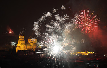 Fireworks explode over the Alexander Nevski cathedral during the New Year celebrations in Sofia