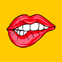 Sweet sexy pop art Pair of Glossy Vector Lips. Open Sexy wet red lips with teeth pop art , vector illustration on yellow background