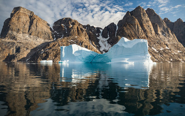 Photo sur Aluminium Arctique arctic landscape with icebergs among east Greenland fjords