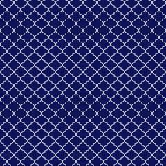 Quatrefoil Seamless Pattern - Graphic navy blue and white quatrefoil or trellis design