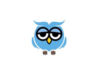 Blue owl with sleepy eyes logo Design