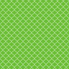 Quatrefoil Seamless Pattern - Graphic lime green and white quatrefoil or trellis design