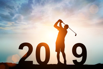 silhouette of man dive golf in 2019 text for happy new year concept