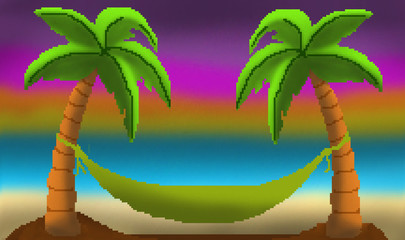 Pixel 8 bit drawn palm trees with hammock sunset on sandy beach